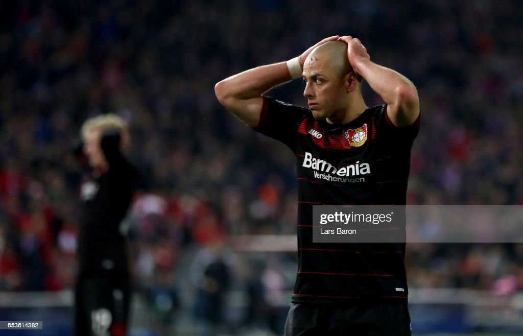 Chicharito of Bayer Leverkusen reacts during the UEFA Champions League Round of 16 second leg match between Club Atletico de Madrid and Bayer Leverkusen at Vicente Calderon Stadium on March 15, 2017 in Madrid, Spain.