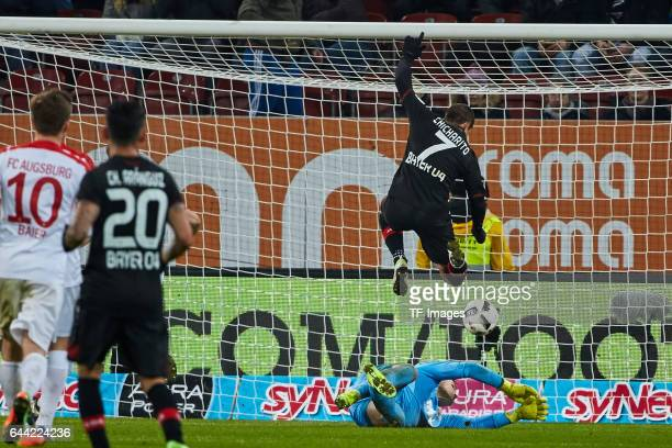 Chicharito of Bayer Leverkusen scores a goal during the Bundesliga match between FC Augsburg and Bayer 04 Leverkusen at WWK Arena on February 17 2017...