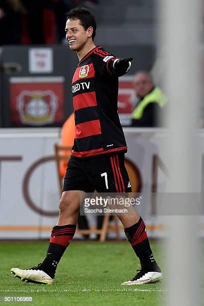 Chicharito of Leverkusen celebrates after scoring his team's second goal during the Bundesliga match between Bayer Leverkusen and Borussia...