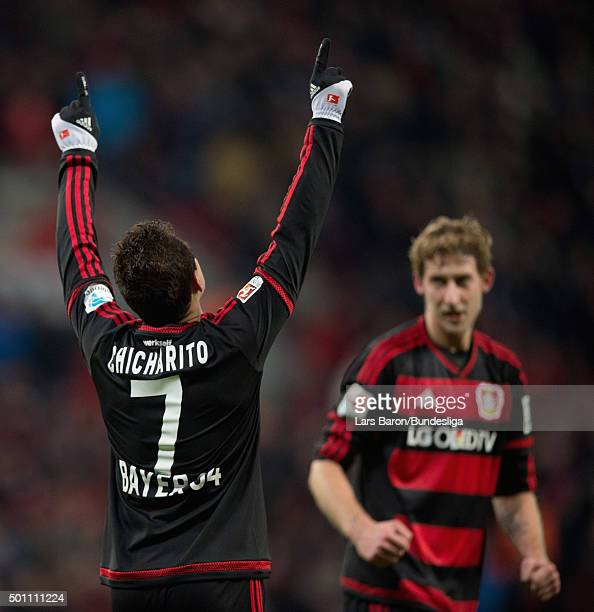 Chicharito of Leverkusen celebrates next to Stefan Kiessling after scoring his teams second goal during the Bundesliga match between Bayer Leverkusen...
