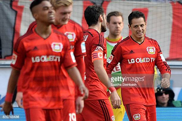 Chicharito of Leverkusen celebrates with team mates after scoring his team's second goal during the Bundesliga match between 1 FC Koeln and Bayer...