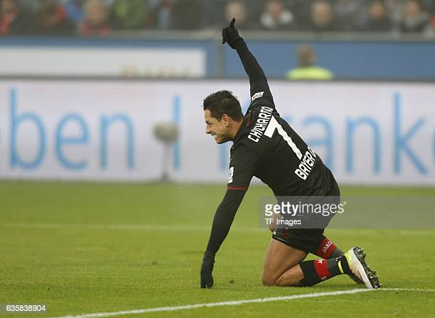 Chicharito of Leverkusen gestures during the Bundesliga match between Bayer 04 Leverkusen and SC Freiburg at BayArena on December 3 2016 in...