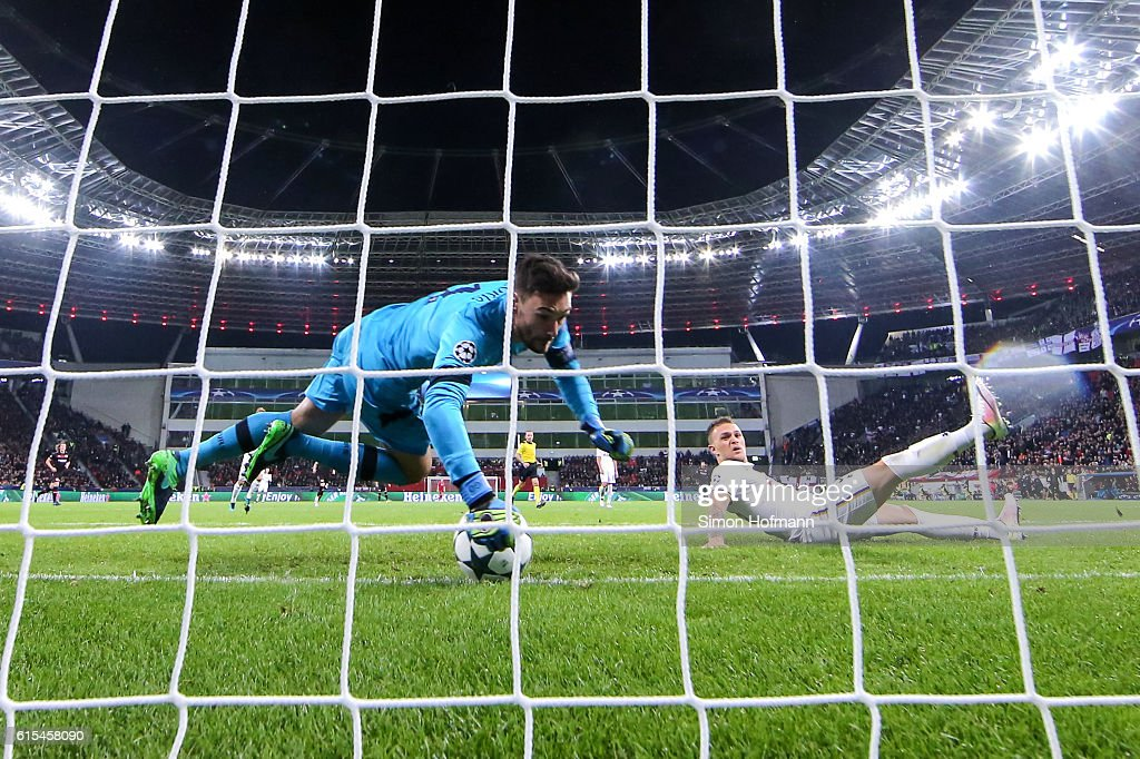 Chicharito of Leverkusen (not pictured) scores a disallowed goal against goalkeeper Hugo Lloris of Tottenham during the UEFA Champions League match between Bayer 04 Leverkusen and Tottenham Hotspur FC at BayArena on October 18, 2016 in Leverkusen, North Rhine-Westphalia.