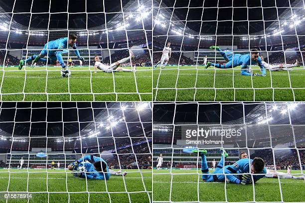 Chicharito of Leverkusen scores a disallowed goal against goalkeeper Hugo Lloris of Tottenham during the UEFA Champions League match between Bayer 04...