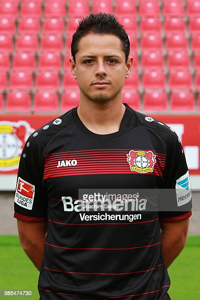 Chicharito poses during the official team presentation of Bayer Leverkusen at BayArena on July 25 2016 in Leverkusen Germany