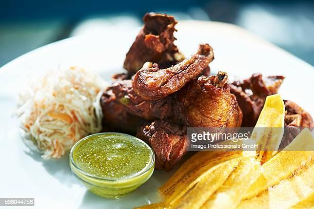 Chicharron de Pollo (Deep Fried Chicken) with Plantain Chips