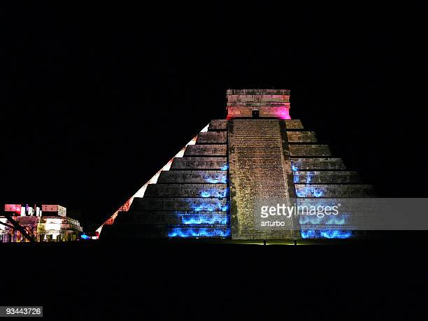 Chichen Itza Pyramid at night
