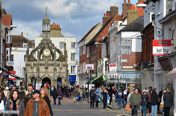 chichester high street and market cross - chichester stock pictures, royalty-free photos & images