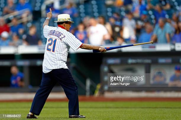 ChiChi Rodriguez reacts after the ceremonial first pitch prior to the Colorado Rockies taking on the New York Mets at Citi Field on June 8, 2019 in...
