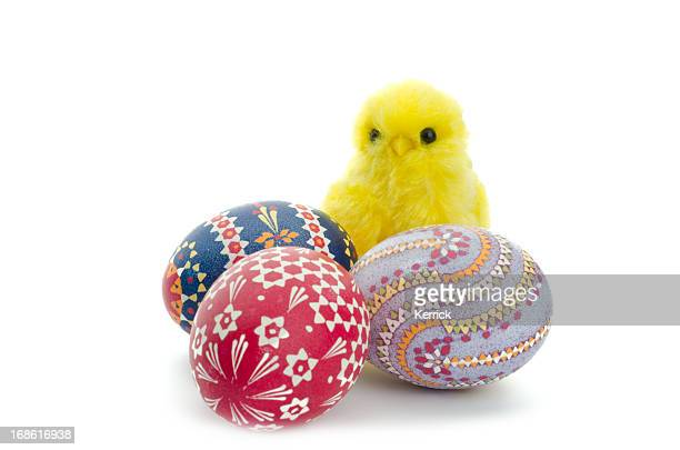 chick and easter eggs - easter chick stock pictures, royalty-free photos & images