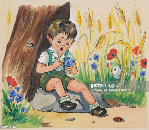 A chick in the grass looking at a boy holding a butterfly in his hands children's illustration drawing