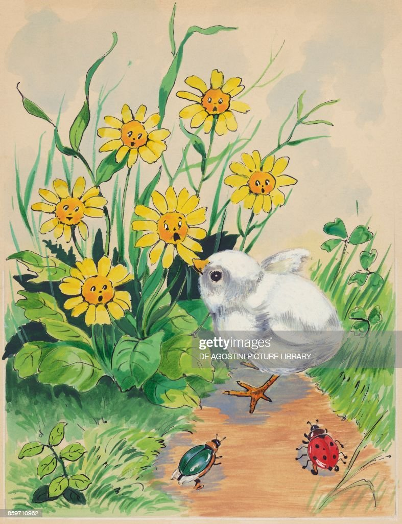Chick Pecking At Petals Of Yellow Flower Childrens Illustration