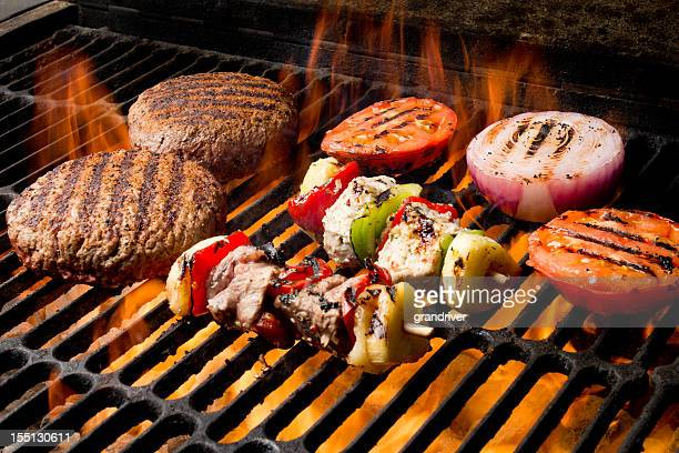 Chicken and Beef Shish Kebabs with Grilled Burger, Tomato, Onion