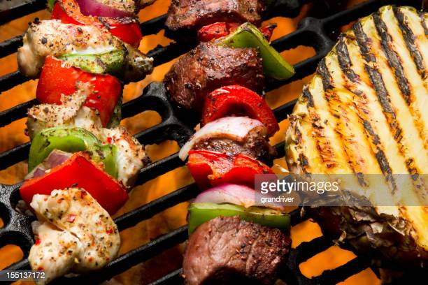 Chicken and Beef Shish Kebabs with Grilled Pineapple