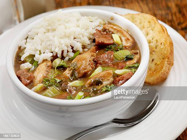 chicken and sausage gumbo - creole culture stock pictures, royalty-free photos & images