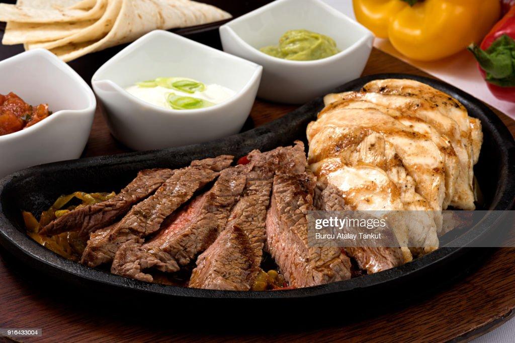 Chicken and Steak Fajita : Stock Photo