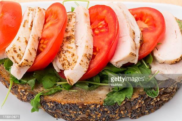 Chicken and tomato open sandwich