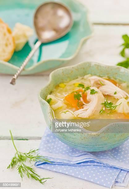 chicken and vegetables sup - caldo pollo fotografías e imágenes de stock