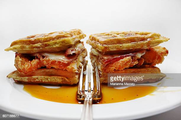 chicken and waffles - chicken and waffles stock photos and pictures