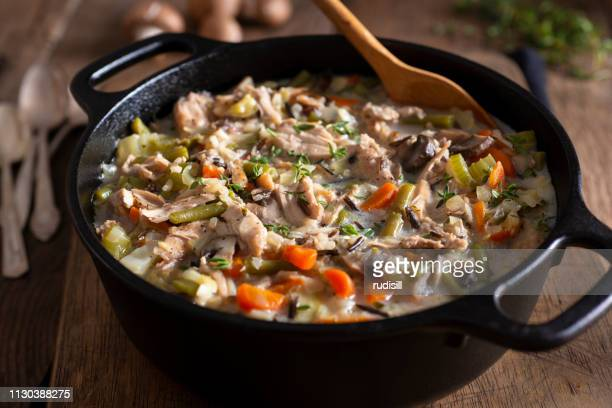 chicken and wild rice soup - chicken soup stock photos and pictures