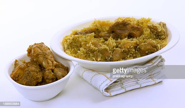 Chicken biriyani and chicken gravy