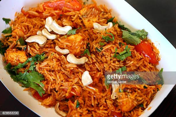 Chicken biryani is pictured at Momo n' Curry in Somerville MA on Jul 11 2015