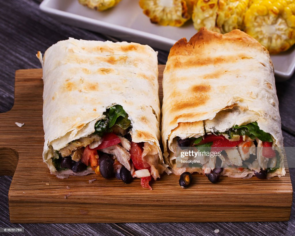 Chicken, Black Beans, Spinach and Tomato Burritos : Stock Photo