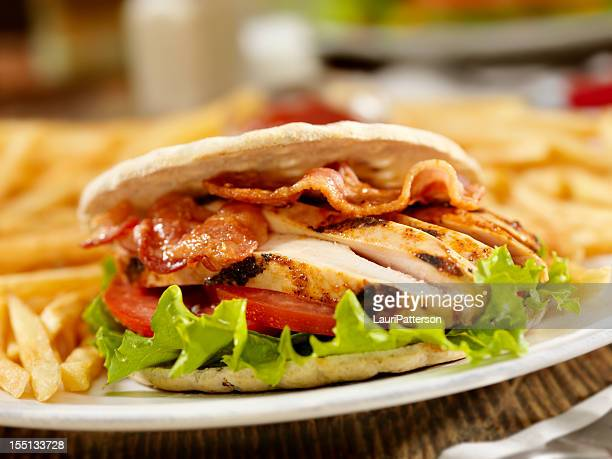 bbq chicken blt - side salad stock pictures, royalty-free photos & images