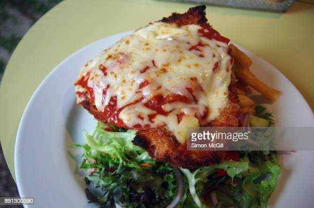 Chicken breast schnitzel served with melted cheese, tomato sauce, pineapple and ham, and potato chips and salad
