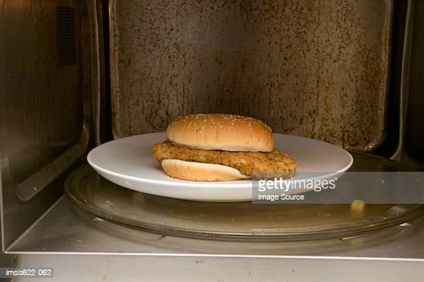 Chicken burger in a microwave