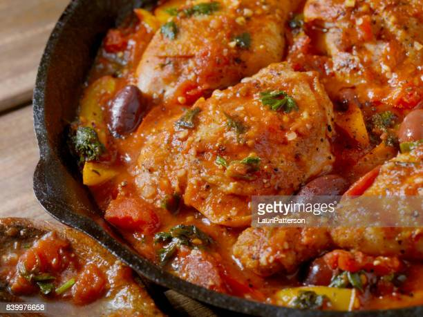 chicken cacciatore - roasted pepper stock photos and pictures