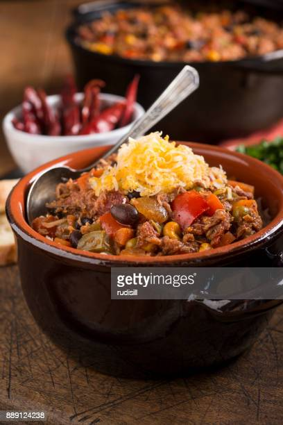 chicken chili - bowl of chili stock photos and pictures