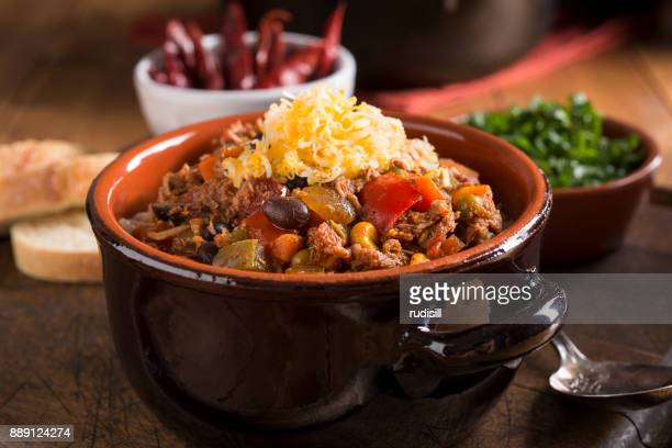chicken chili - chili stock photos and pictures