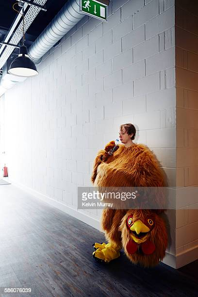 chicken costume mascot after event - animal body part stock pictures, royalty-free photos & images