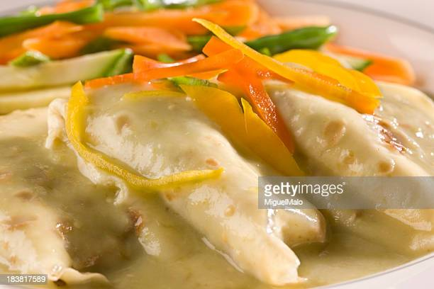 chicken crepe - bechamel sauce stock photos and pictures