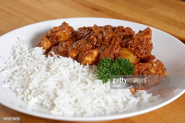 Chicken curry and boiled rice