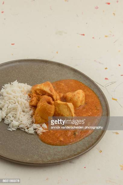 chicken curry and rice. - curry soup stock photos and pictures