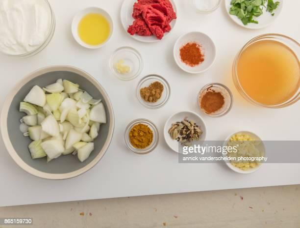 chicken curry ingredients. - caldo pollo fotografías e imágenes de stock