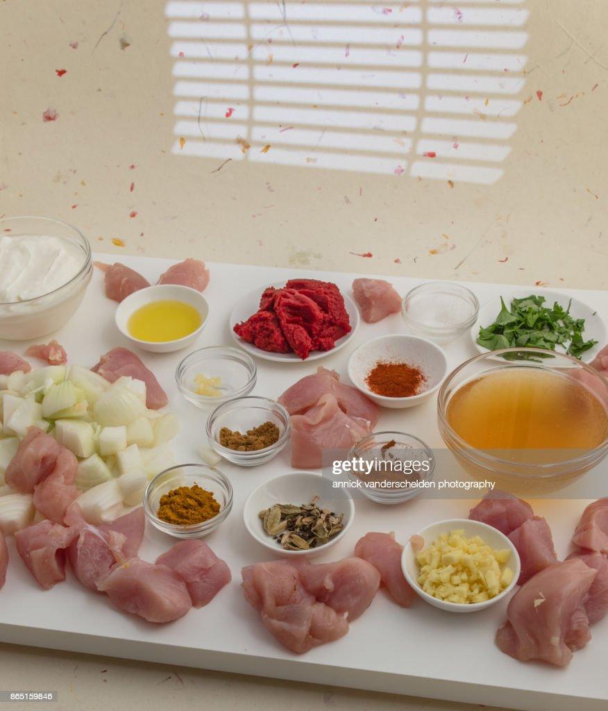 Chicken curry ingredients. : Foto de stock