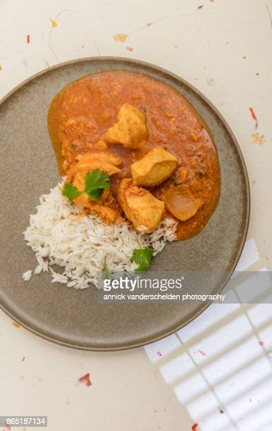 chicken curry, rice and cilantro. - curry soup stock photos and pictures