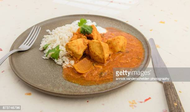 chicken curry, rice and yoghurt-cilantro mixture. - curry stock pictures, royalty-free photos & images