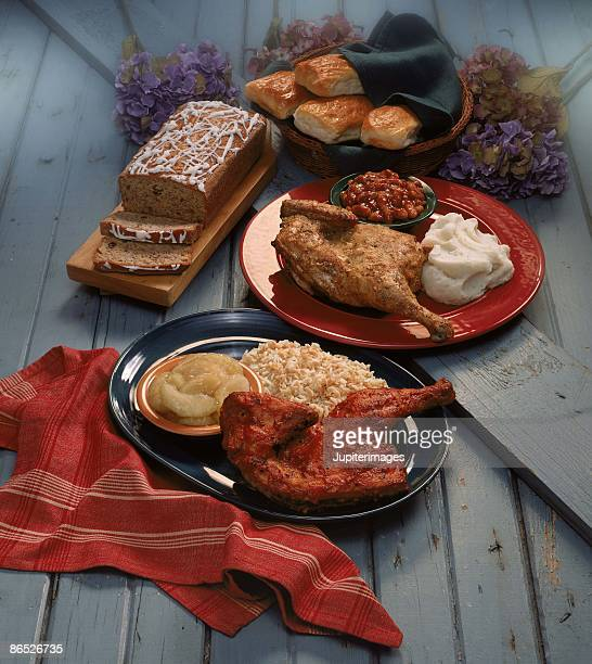 Chicken dinners with banana bread