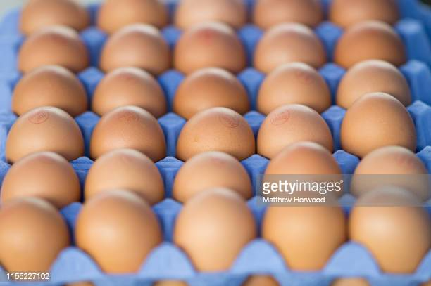 Chicken eggs for sale at a street market on June 2, 2019 in Cardiff, United Kingdom.