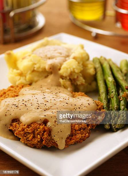 chicken fried steak - fried chicken stock photos and pictures
