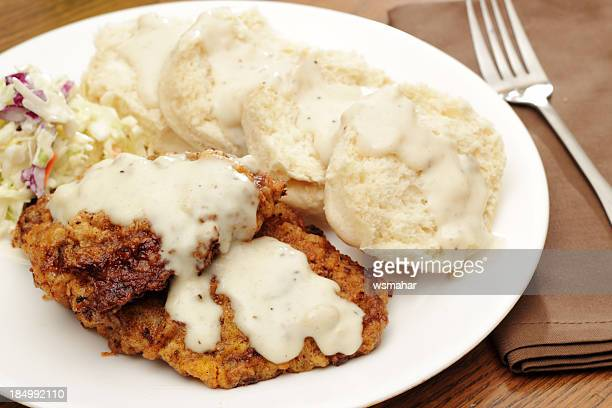 chicken fried steak - biscuit stock photos and pictures