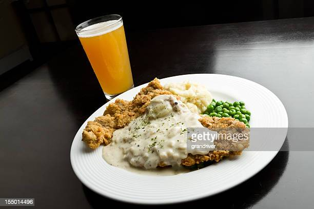 chicken fried steak with beer - fried chicken stock photos and pictures