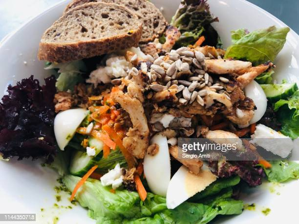 Chicken, goat cheese, egg and cress salad