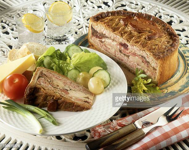 Chicken & ham pie with salad & cheese