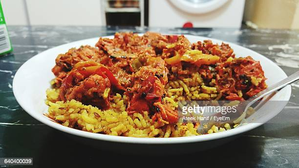 Chicken Jalfrezi And Basmati Rice Served In Plate On Table