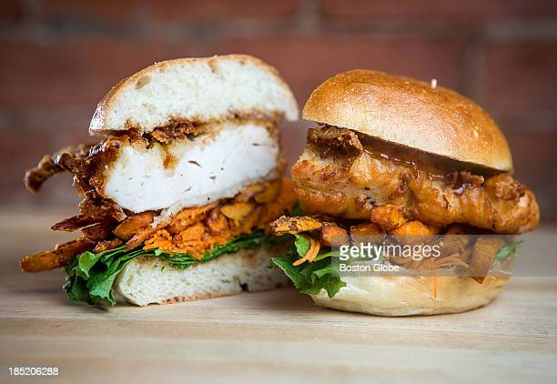 Chicken katsu sandwich with Tonkatsu sauce, sweet potato fries, carrot laces, green leaf lettuce, a soft bun, and a free range chicken tempura breast...